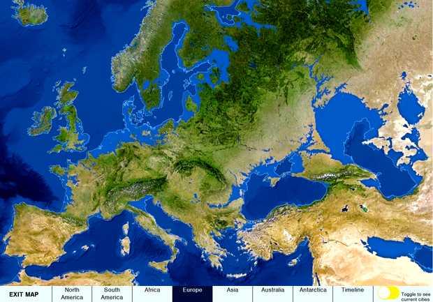 Captura de pantalla del gráfico interactivo de National Geographic Leer más: http://protestantedigital.com/sociedad/30259/El_mar_cubrira_Londres_y_Barcelona_en_5_mil_antildeos_por_el_deshielo_del_Artico