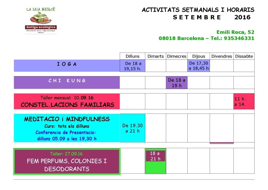 Graella activitats setembre 16